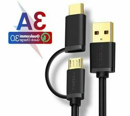 Ugreen 2 in 1 Cable Micro USB Type C Fast Charging For Andro