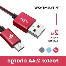2m Rampow 6.6ft Micro USB 3.0 Data Fast Charger Cable 2.4A f