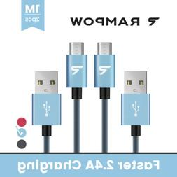 RAMPOW 2x 1m Micro USB Cable QC3.0 Fast Charging Data Sync C
