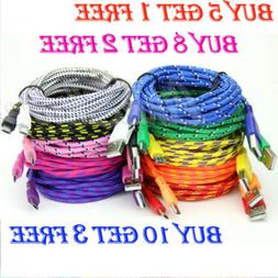 3 6 10 Feet Braided USB Sync Charger Cable For iPhone 6 6s 7