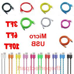 3 6 10FT Micro USB Braided Fast Charger Data Sync Cable Cord