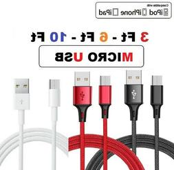 3/6/10Ft Micro USB Fast Charger Data Sync Cable Cord For Sam