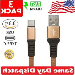 3 x Nylon Braided Type C Cable USB-C Fast Charging Cord For