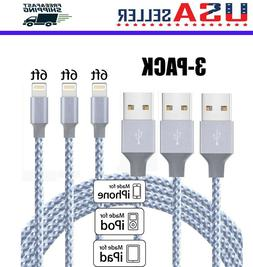 3Pack 6Ft Lightning Cable Heavy Duty For iPhone 6S 7 8Plus C