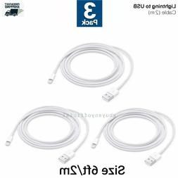 3 pack Genuine Original oem Apple iPhone 2m 6ft USB Cable wa