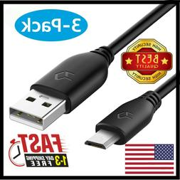 3-Pack Micro USB Cable Type A to Micro B  Data Sync Charger