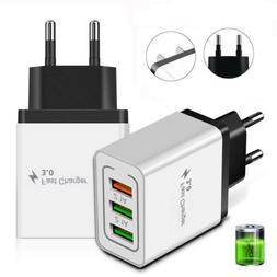 3 Port Fast Charge 3.0 USB Hub Phone Home Wall Charger Power
