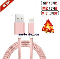 3FT 6FT 10FT Braided USB Charger Cable Sync Cord For iPhone