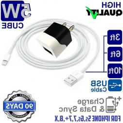 3ft,6ft,10ft USB Power Cord Cable + 5W Cube Wall Charger for