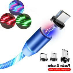 3in1 Magnetic Glowing Flowing Fast Charging Type C Micro USB