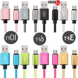 3x PACK Micro USB Fast Charger Data Sync Charging Cable Sams