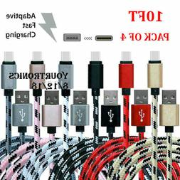 4 PACK 10FT USB-C To USB-A Fast Charging Cable Type C Rapid