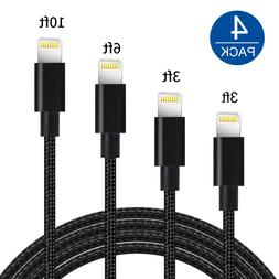4-Pack USB Cable For Apple iPhone 5 6 7 8 Plus X Fast Charge