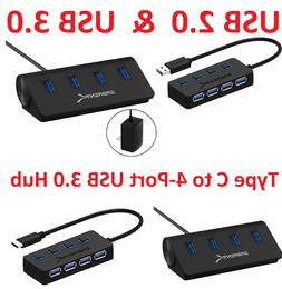 Sabrent 4-Port USB 2.0 / 3.0 / Type C to 3.0 Hub with Indivi