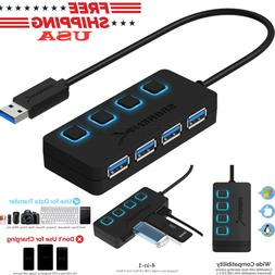 4-Port USB 3.0 Hub w/ LED Power Switches Peripherals Compute