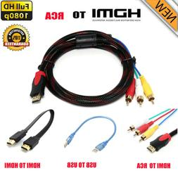 5Ft HDMI Male to 3 RCA  Video Audio AV Cables Cord USB Adapt