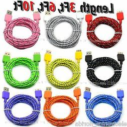 LOT Braided USB Data Sync & Charger Cable Cord For SAMSUNG G
