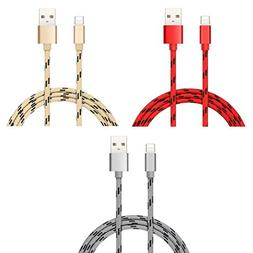 Syntecso- 3 Packs, Nylon Braided 2in1 Micro USB Fast 2.4A Ch