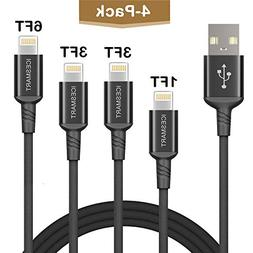ICESMART 4Pack 1FT 3FT 3FT 6FT Charging Cable for iPhone Cha