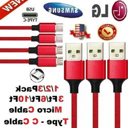 Heavy Duty Charging Phone Cable Type C Micro USB For Samsung