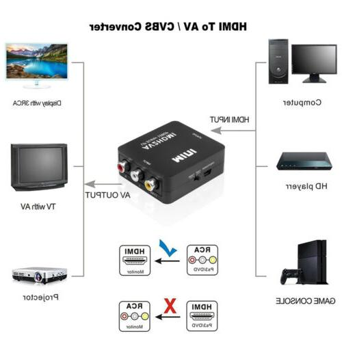 1080P Male To RCA AV TO Video Adapter Upscaler+ USB Cable