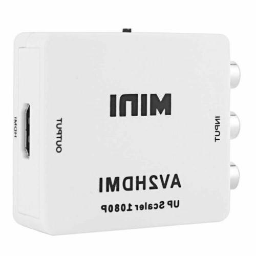 Input AV RCA to HDMI Video Adapter 1080p Upscaler+ Cable