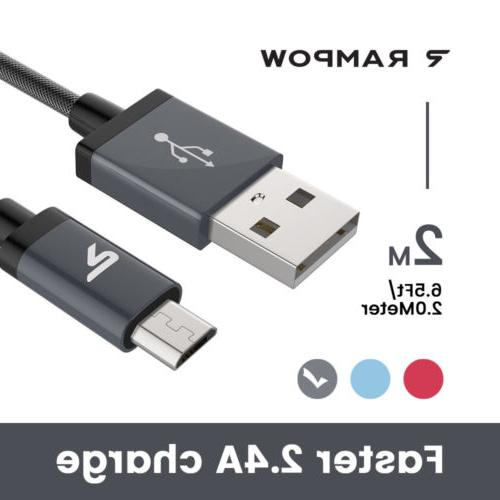 RAMPOW 2m Micro USB Cable Fast Charging Data Sync Cable For