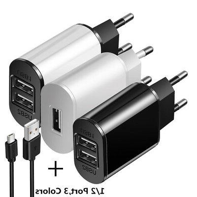 5V 2A EU Dual USB 2-Port Fast Charger Mobile Phone Wall Powe