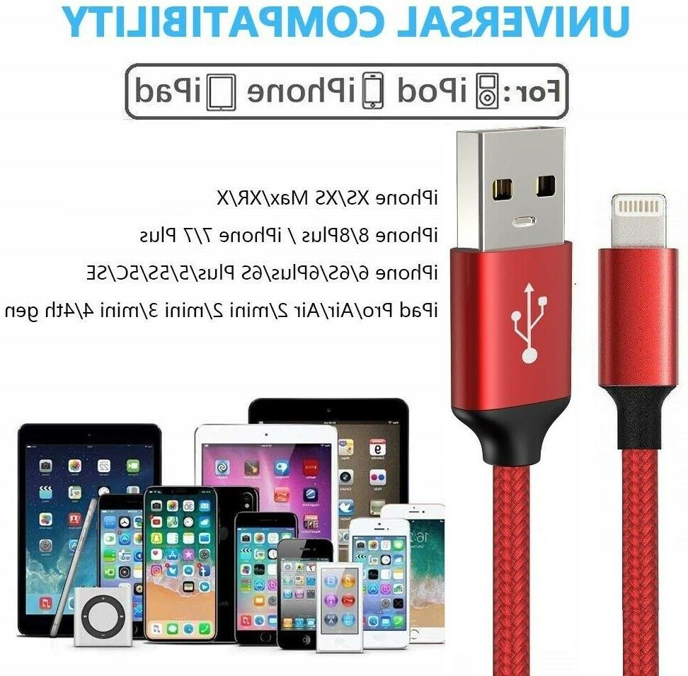 For iPhone 7 8 Plus XR Lightning Charger Cable USB Charging