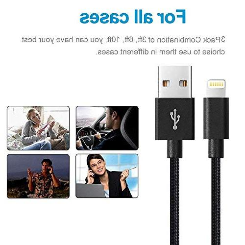oduey Phone 3FT 6FT 10FT Phone X/8/7/7 Plus/SE/5s/5c/5 and more-Black