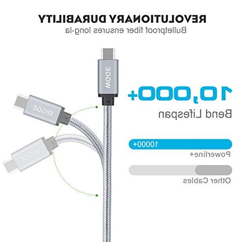 WGGE 3.1 C 3.1 Type-C Cable Nylon braiding Fast Charger, Using for 13'' MacBook Pro,HTC G5 Nexus 6P/5X, and