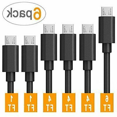 Micro USB Cable Android,COVERY 6-Pack  USB to