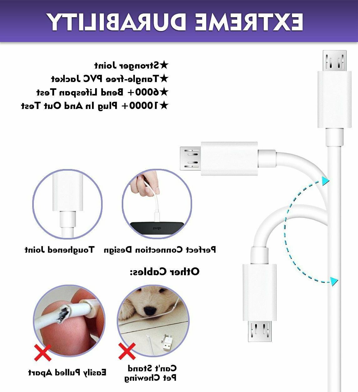 2-Pack USB Fast Cord For Samsung Android Phone LG