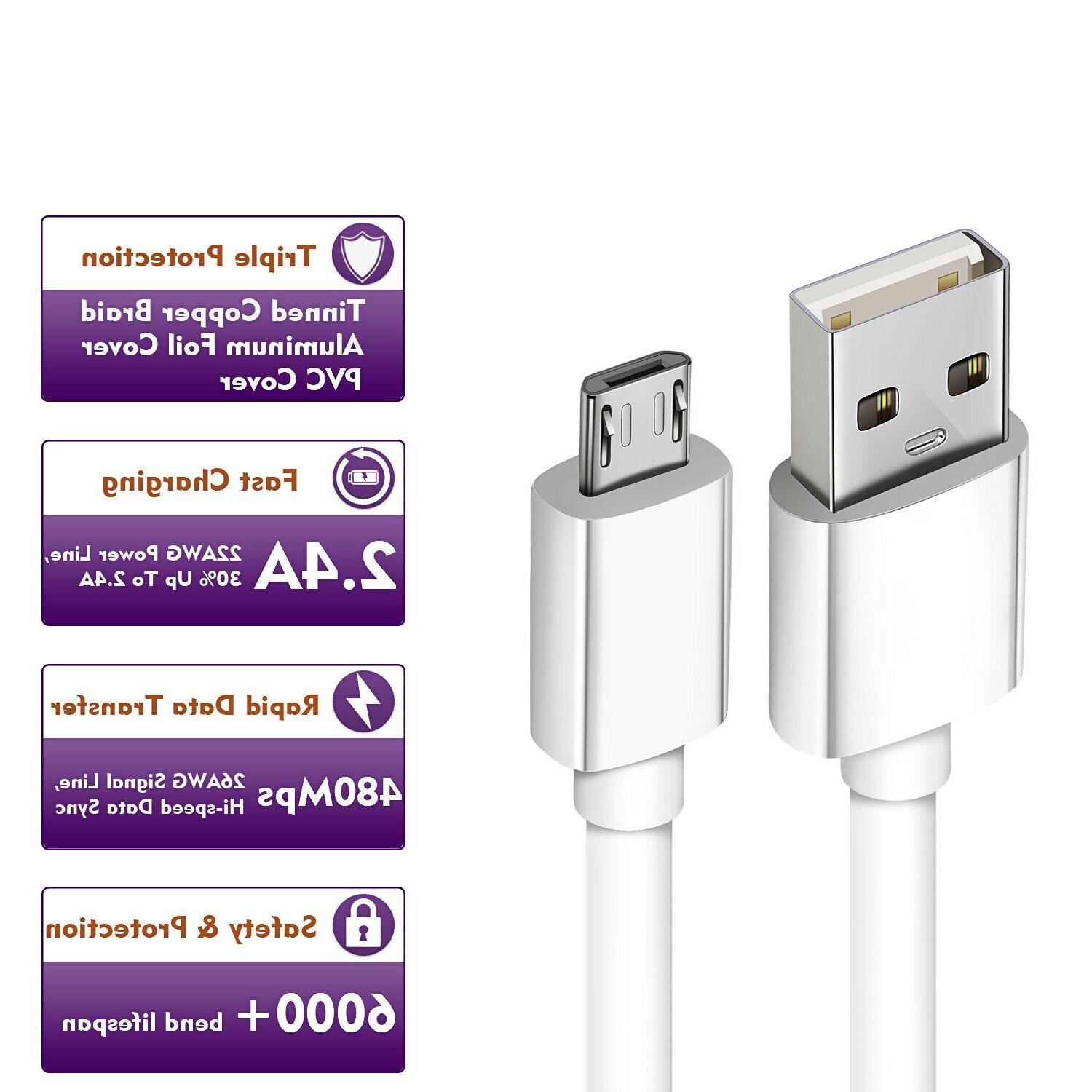 2-Pack Micro Fast Charging Cord For Samsung Phone LG