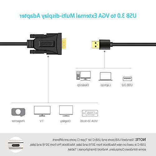 USB to VGA Adapter Cable, Multi Display Video Converter Windows 10/8.1/8/7, PC, Laptop, Surface x