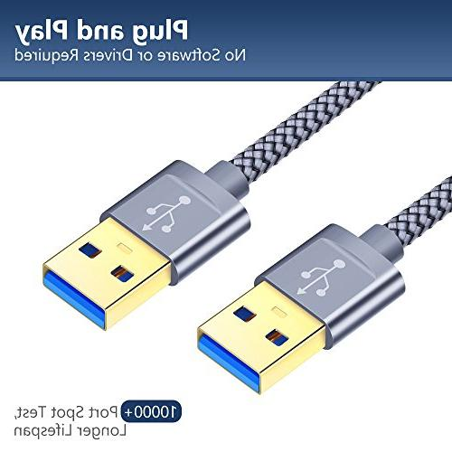 USB A Male JSAUX USB Cable 2 USB to Male End Cord Gold-Plated Connector for Drive Laptop Cooler