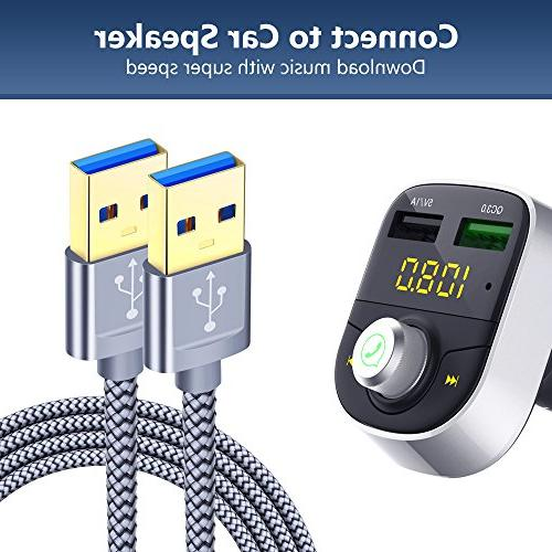 USB A A Male USB to USB Cable 2 USB to Male Cable Gold-Plated for Drive Laptop