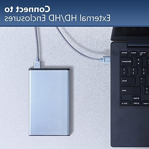 USB 3.0 to A USB to 2 Pack to Double End USB Cord Gold-Plated Drive Enclosures, DVD Laptop Cooler