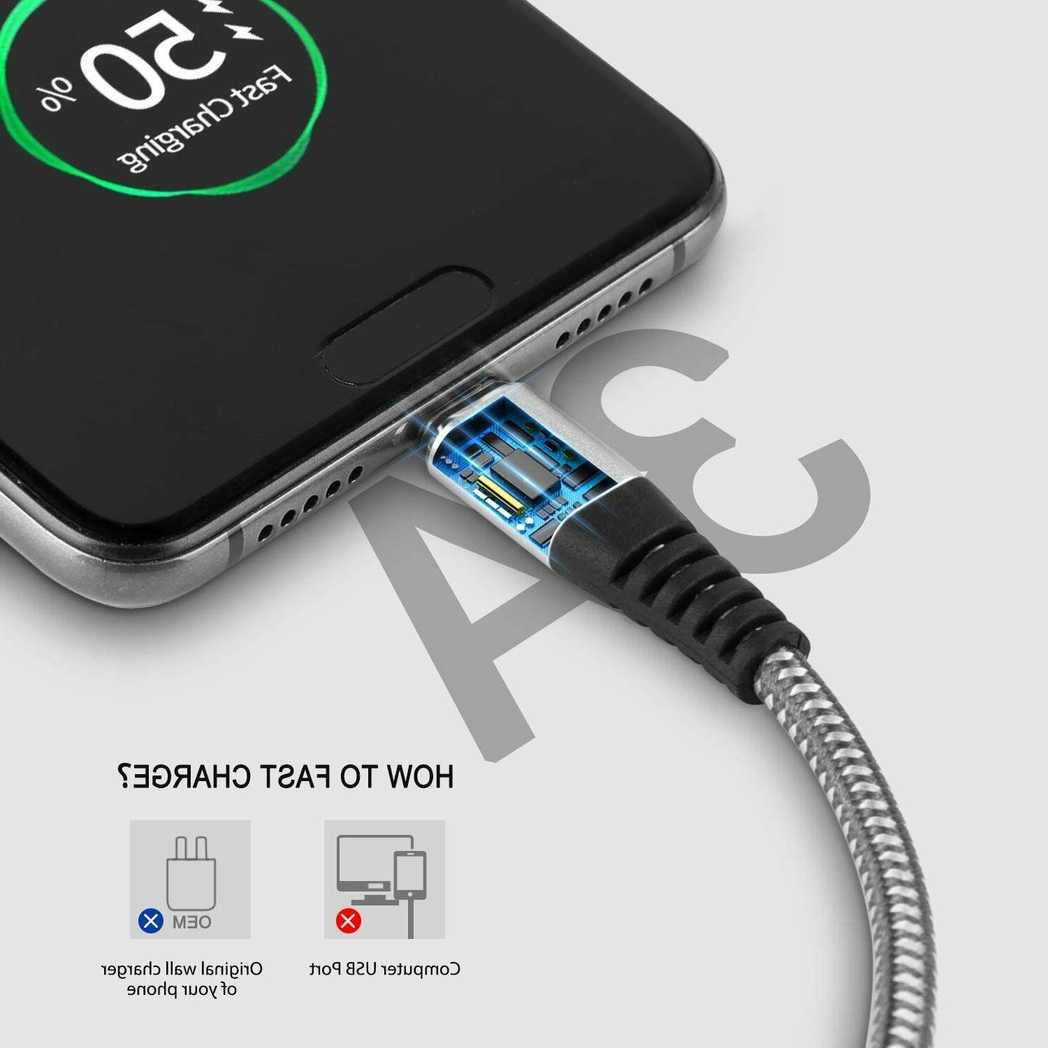 USB-C to Braided Fast Charge Duty Data Type Cable Samsung🔴