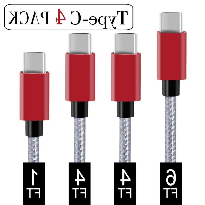 USB C Cable Covery 4 Pack 1x1ft 2x4ft 1x6ft Nylon Braided to