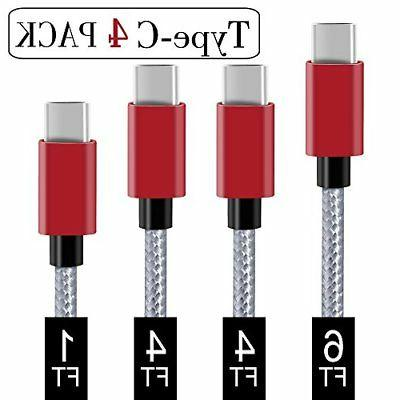 USB Type C Cable,Covery USB C Cable 4 Pack 1x1ft,2x4ft, 1x6f
