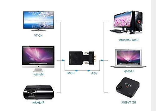 VGA to with Male to HDMI Adapter Converter - PC VGA TV/Monitor/Projector with HDMI