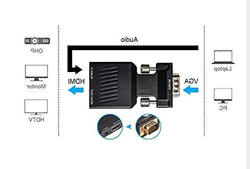 with Male HDMI Adapter Converter Connect PC with VGA TV/Monitor/Projector