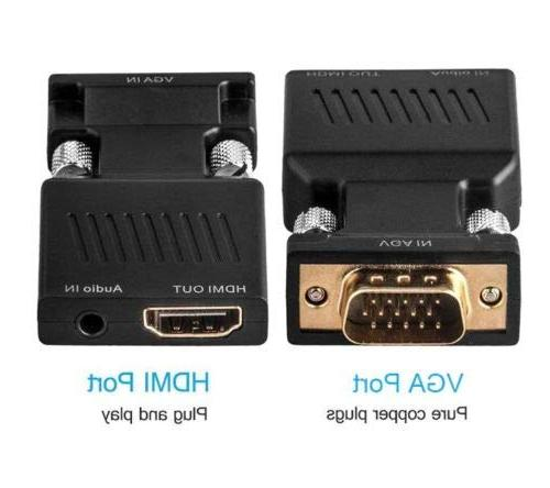 VGA to with Audio 1080P Male HDMI Adapter Converter - Connect PC with VGA TV/Monitor/Projector