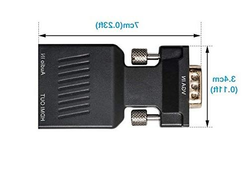 VGA to HDMI Adapter with Male Adapter Converter - PC with VGA TV/Monitor/Projector with HDMI Port