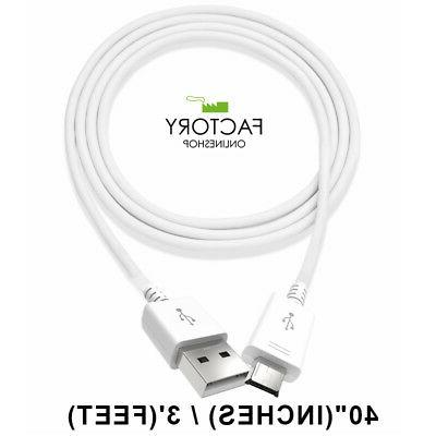 White 3Ft Micro Usb Charging Cable Sync Charger Data Cord Fo