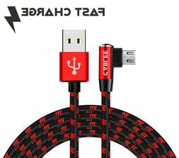 L Shape Braided 6ft -10ft Micro USB FAST Charger Sync Cable