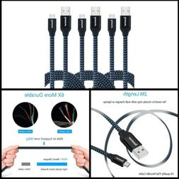 Micro B USB Cable 6' Charger Flat 2.0 A Male 3 Pack Cell Pho