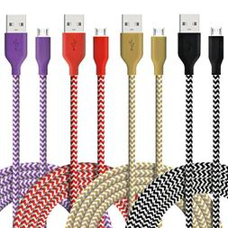 Micro USB Cable, 4-Pcs 6ftFasgear Premium Nylon Braided Tang