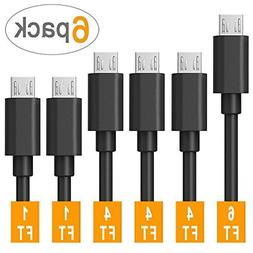 Micro USB Cable Android,COVERY 6-Pack 2x1ft, 3x4ft, 1x6ft US